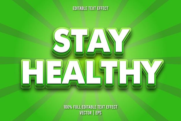 Mantenha-se saudável com efeito de texto editável em estilo cômico