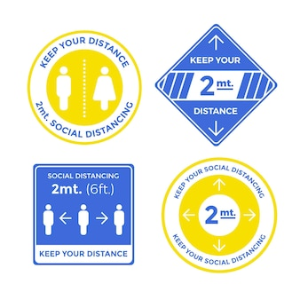 Mantenha sua distância de 2m de uma para outra coleção de sinais