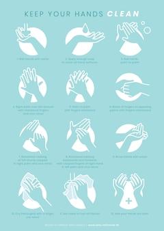 Mantenha suas mãos limpas modelo de proteção contra coronavírus