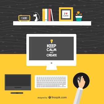 Manter a calma e criar designer mesa vector
