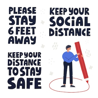 Manter o conjunto de conceitos de distância social mão desenhada letras e ilustrações de vetor
