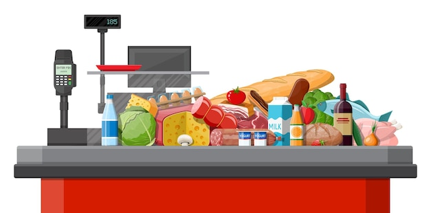 Mantimentos no balcão de checkout. coleção de mercearia. supermercado. bebidas de alimentos orgânicos frescos. leite, legumes, carne, frango, queijo, salsichas, frutos de vinho, suco de cereais de peixe.