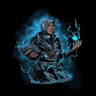 Manto de assassino com um livro de magia nas mãos