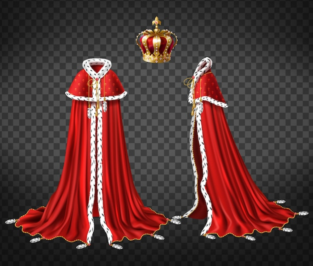 Manto real de reis com capa e manto