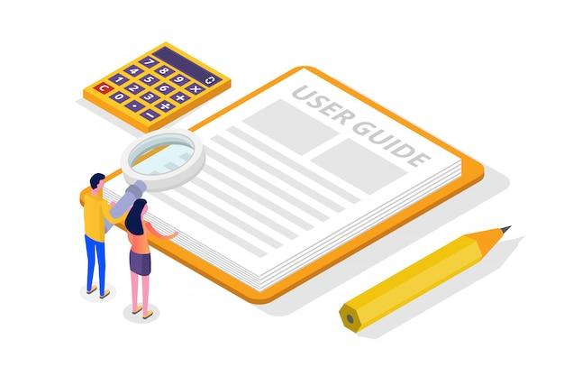 Manual do usuário, guia, instruções, guia, conceito isométrico do manual. ilustração.