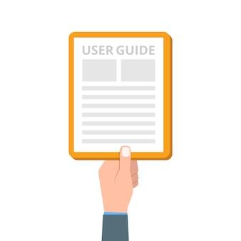 Manual do usuário, guia, instruções, guia, manual. ilustração.