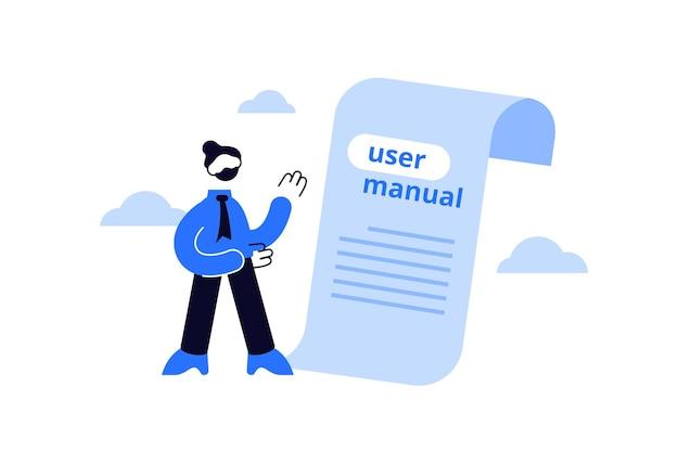 Manual do usuário, instrução do livro manual ou guia de ajuda do manual