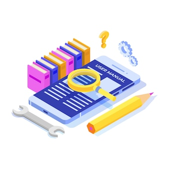 Manual do usuário no conceito de ícone isométrico de dispositivo móvel