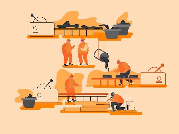 Manufatura de produção de metal, indústria pesada, conceito de metalurgia.