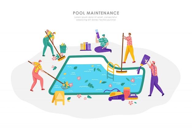 Manutenção de piscina ou serviço de limpeza, grupo de pessoas de uniforme está limpando e cuidando da piscina