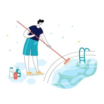 Manutenção de piscinas. ilustração em vetor de homem choca e algicida na piscina