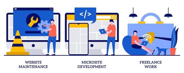 Manutenção de site, desenvolvimento de microsite, conceito de trabalho freelance com pessoas minúsculas