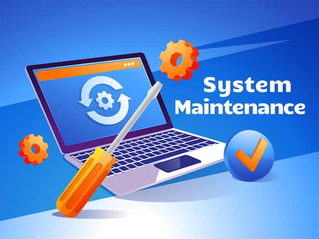 Manutenção do site, atualização de páginas da web de desenvolvimento de software na internet com laptop