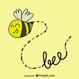 Mão abelha desenhada voando vector