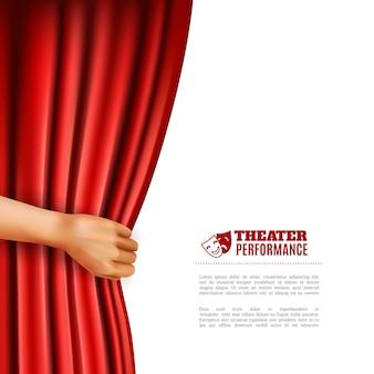 Mão, abrindo, teatro, cortina, ilustração