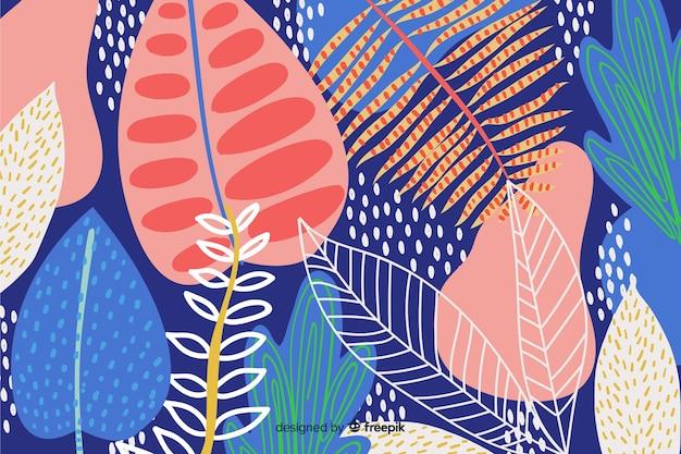 Mão abstrata desenhar fundo floral