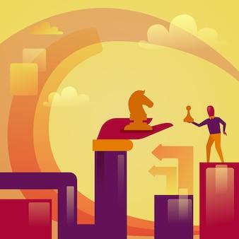 Mão abstrata e homem de negócios, segurando o conceito de concorrência de estratégia de figuras de xadrez