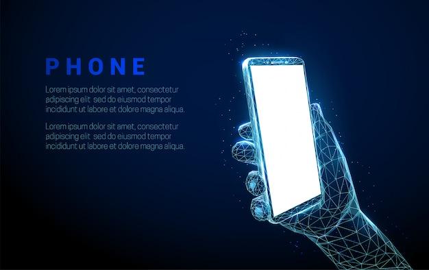 Mão abstrata segurando um celular com tela vazia em branco no estilo low poly