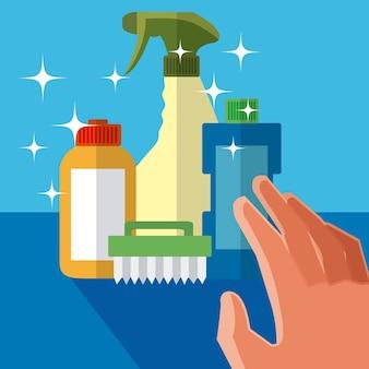 Mão agarrando produtos de limpeza conceito de desenhos animados