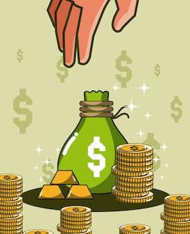 Mão agarrando sacos de dinheiro e moedas vector design gráfico ilustração