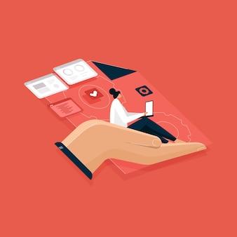 Mão ajudando ao programador de codificação no laptop com mesa de trabalho