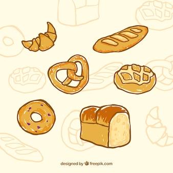 Mão alimento cozido desenhada