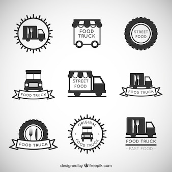 Mão alimentos desenhada coleção logotipo caminhão