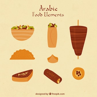 Mão alimentos desenhado em estilo árabe