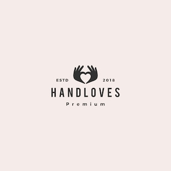 Mão, amor, logotipo, vetorial, ilustração