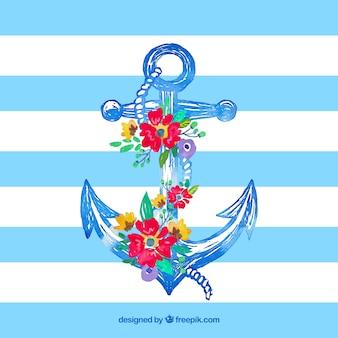 Mão âncora desenhada com flores