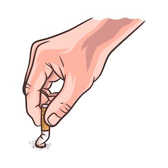 Mão apagando ilustração de cigarro