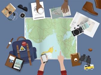 Mão apontando no mapa planejando para viagem