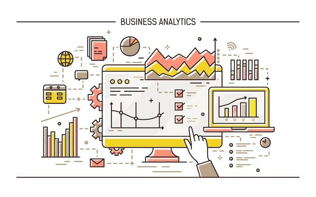 Mão apontando para a tela do computador com resultados de análises estatísticas de dados, vários diagramas, tabelas e gráficos. conceito de análise de negócios. ilustração vetorial colorida em estilo de linha de arte.