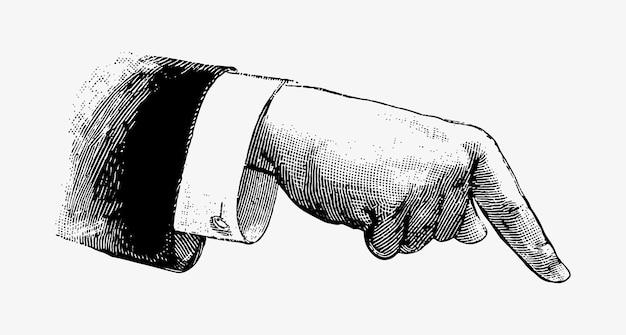 Mão, apontar, vindima, desenho