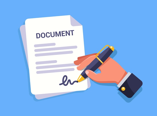 Mão assina um documento importante.