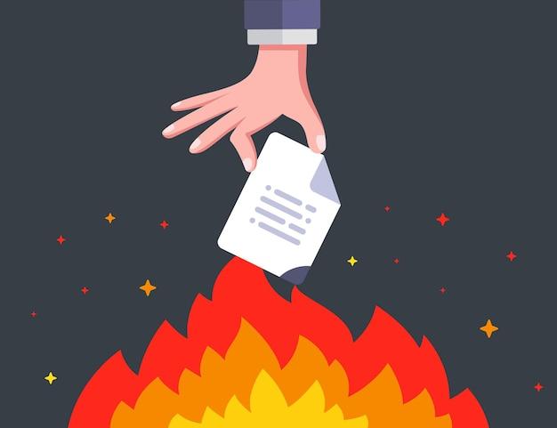 Mão ateia fogo a um documento importante. destruir informações para sempre. ilustração vetorial plana.