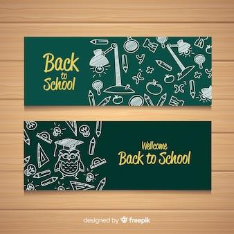 Mão atraído de volta para banners de escola