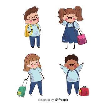 Mão atraído de volta para crianças em idade escolar