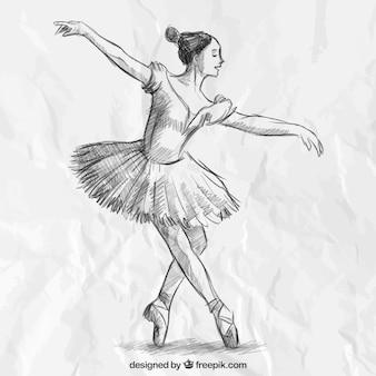 Mão bailarina elegante desenhada