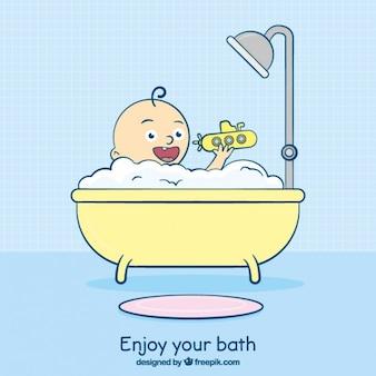 Mão banheira desenhada com uma criança