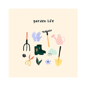 Mão bonita desenhada jardim ferramentas pá, ancinho, tesoura, botas de borracha, regador.