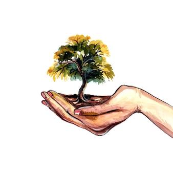Mão bonita desenhar garotas segurando um projeto aquarela de árvore de terra