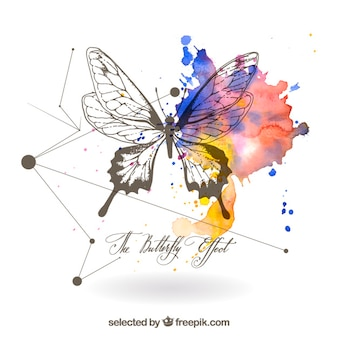 Mão borboleta desenhada