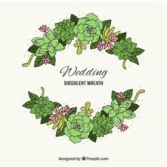Mão cactus desenhado com folhas para a decoração do casamento