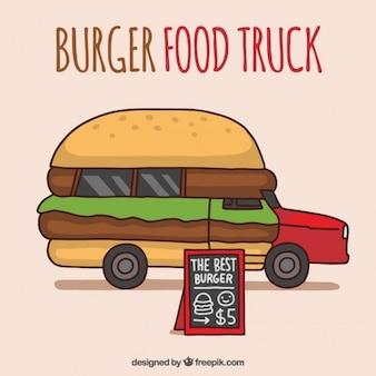 Mão caminhão de alimentos burguer desenhada