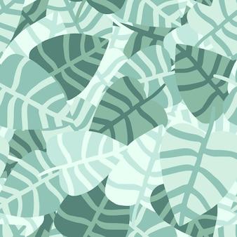 Mão caótica desenhar padrão sem emenda de selva. planta exótica. padrão de verão tropical, folhas de palmeira vetor fundo floral.