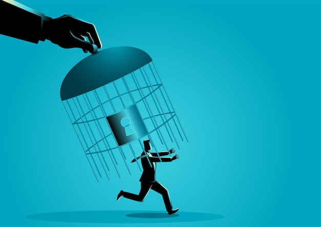 Mão capturando um empresário correndo com uma gaiola