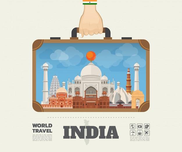 Mão carregando índia marco global viagens e viagem infográfico saco. modelo de design plano de vetor. vetor / ilustração. pode ser usado para o seu banner, negócios, educação, site ou qualquer obra de arte
