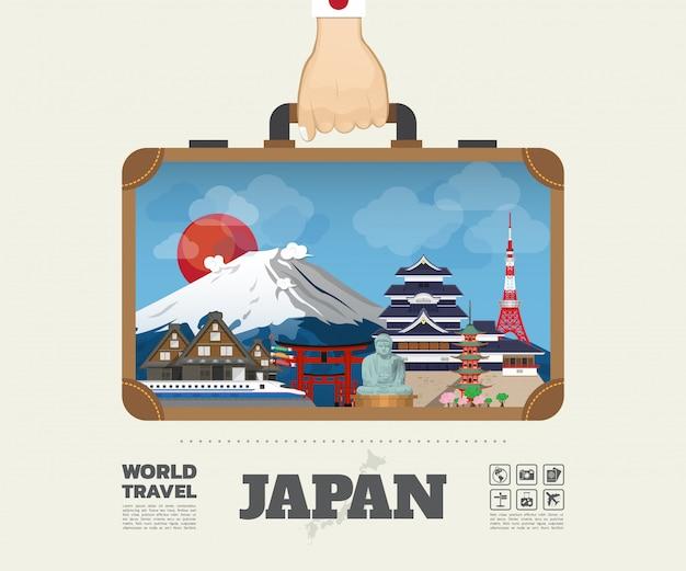 Mão carregando japão marco global viagens e viagem infográfico saco. modelo de design plano de vetor. vetor / ilustração. pode ser usado para o seu banner, negócios, educação, site ou qualquer obra de arte
