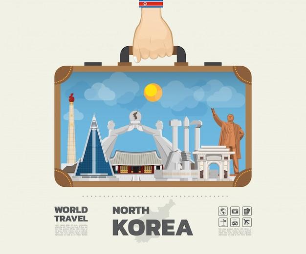 Mão carregando o saco global de viagens e viagem de marco da coreia do norte.